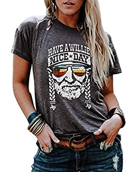 VKEGNIO Have a Willie Nice Day T Shirt Willie Nelson Graphic Tees for Women Summer Casual Vacation Shirts Short Sleeve Tops  Large Grey