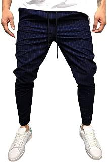 Stoota 2019 Men's Casual Solid Loose Stripe Pocket Sweatpant Trousers Jogger Pant