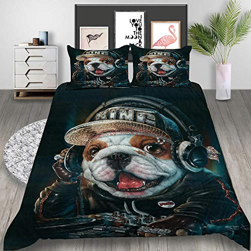 QWFDAQ Printed Duvet Cover Set Blue white yellow music animal dog Duvet Cover Soft Polyester with Zipper Closure Double:78.7 inch x 78.7 inch Hypoallergenic, Easy Care With 2 Pillowcases