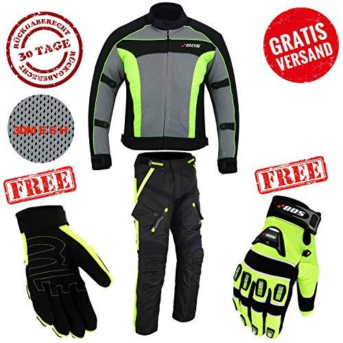 Motorcycle Combi Biker Motorcycle Textiel Combi Waterdichte jas, Broeken (M, Neon Groen)