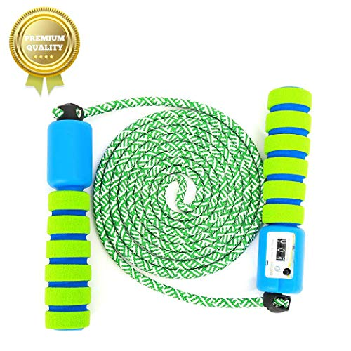 Springseil Speed Rope,springseil Boxen,springseil Sport Kinder,Springseil Kinder Speed Rope mit Zähler,Springseil Sport,Verstellbares Speed Rope Seilspringen! (Grün-2)