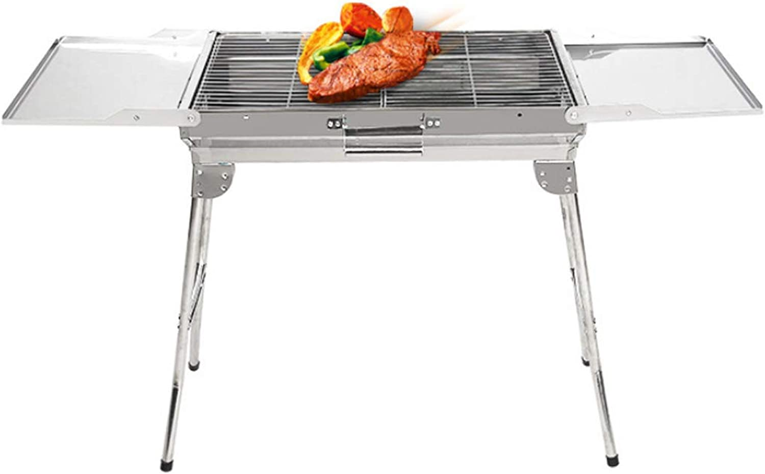 BBQ Barbecue Grill Stainless Steel Charcoal Grill Smoker Folding Portable for Cooking Camping Picnics Backpacking