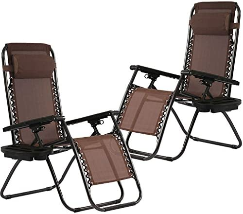 Zero Gravity Chairs Set of 2 with Pillow and Cup Holder Patio Outdoor Adjustable Dining Reclining product image