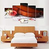 VKEXVDR Cuadro sobre Lienzo-5 Piezas- Violín Rosa -Cuadros Modernos Impresión de Imagen Artística Digitalizada Lienzo Decorativo para Tu Salón o Dormitorio