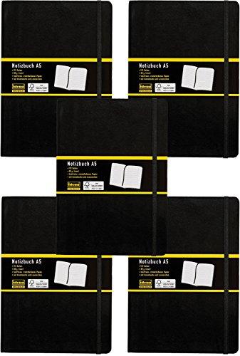 5er Sparpack Idena 209284 - Notizbuch, 192 Seiten, 80 g/m², schwarz (DIN A5 | 5 Stück, liniert)