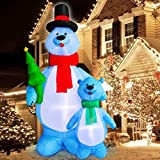 TURNMEON 10Ft Tall Christmas Inflatables Blow up Polar Bears Family Holding Christmas Tree with Tether Stakes LED Lighted Christmas Decoration Holiday Yard Outdoor Lawn Garden Home Party Decoration