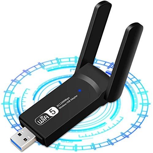 WLAN Stick 1200 Mbit/s WLAN Adapter,USB3.0 WiFi Dual Band Adapter 5GHz+2.4GHz 2x5 dBi High Speed 802.11ac Wireless Netzwerk Adapte WiFi Empfänger für Windows/Mac OS/Linux