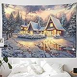 KHKJ Tapiz navideño con Chimenea y Nieve para Colgar en la Pared, Tapiz navideño para decoración del hogar, tapices con Estampado A6 200x180cm