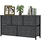 FURNINXS 5 Drawers Fabric Dresser Storage Tower Wide Chest Organizer Furniture for Bedroom, Closet, Hallway, Entryway, Nursery with Metal Frame, Wood Top, Easy Pull Handle Bins