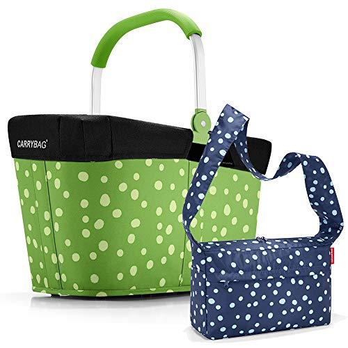 reisenthel Einkaufskorb carrybag plus cover plus case 2 Einkaufskorb Einkaufstasche Einkaufsset (spots green)