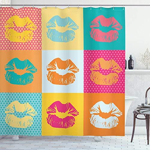 ABAKUHAUS Modern Douchegordijn, Fashion Kiss Ontwerp van de Liefde, stoffen badkamerdecoratieset met haakjes, 175 x 200 cm, Veelkleurig
