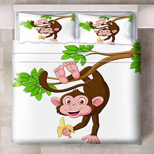 Teqoasiy - Ropa De Cama Infantil - Impresión Digital 3D Dibujos Animados Animal Mono Plátano 260x230cm 3 Piezas Suave Microfibra Juego De Funda Nórdica - con 2 Fundas De Almohada - Antialérgico Funda