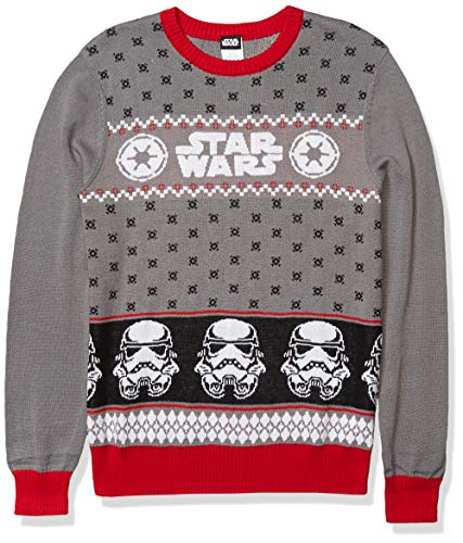 Star Wars Men's Ugly Christmas Sweater, Stormtrooper/Grey, Large