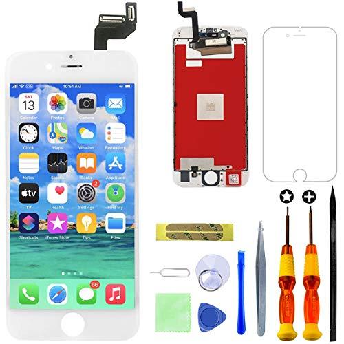 GULEEK Display per iPhone 6S Plus Schermo 5,5 Pollici LCD Touch Screen Frame Vetro Schermo Kit Smontaggio Trasformazione Completo di Ricambio Utensili Inclusi (Bianco)
