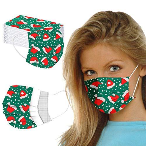 Amuse-MIUMIU 50 Stück Weihnachten Muster Erwachsene Mundschutz Einweg 3-lagig Niedlich Druck Face Cover Atmungsaktiv Mund und Nasenschutz Bedeckung Multifunktionstuch Halstuch für Frauen und Männer