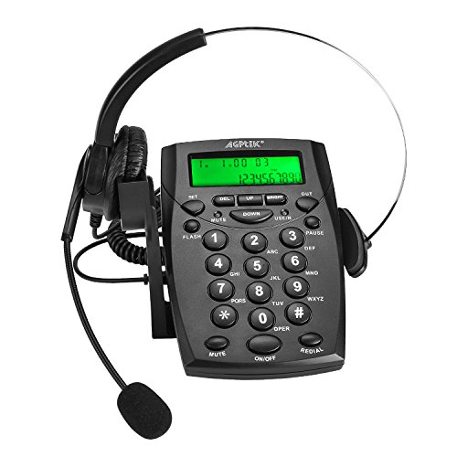 AGPTEK Business/Call Center Telephone with Monaural Headset & Dialpad for Home Office (Voice Recorder Port Available & Connect to The PC to Record)