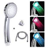 LEDGLE LED Alcachofa de Ducha, Ducha LED de Luz, Cambia de Color Alcachofa de Ducha con Luz LED Automáticamente, No Necesita Pilas (3 Colores)