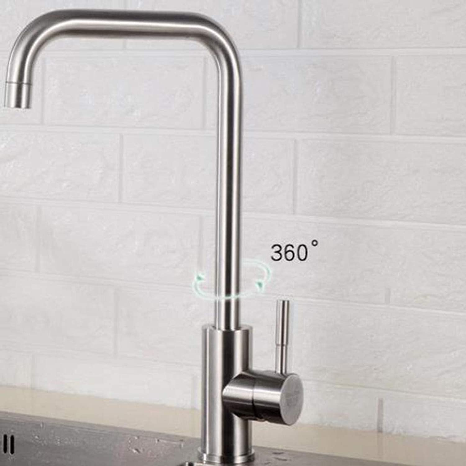 304stainless Steel Kitchen Sink Faucet, Hot and Cold Washbasin Hose with Drain Assembly Head hot and Cold Stainless Steel hot and Cold Kitchen Faucet High arc with Drain Assembly -A