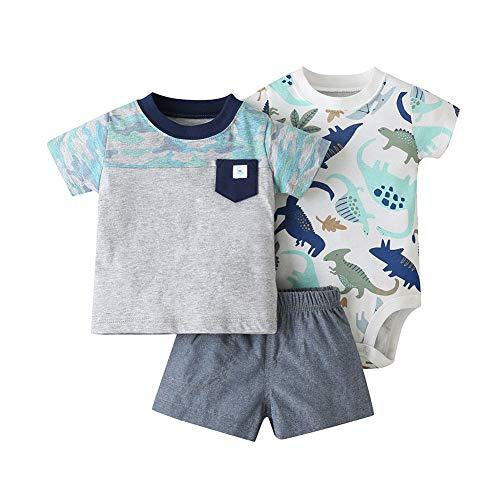 Baby Boys - Conjunto de camiseta de manga corta + body + pantalones cortos para recién nacido, otoño, primavera y verano, 3 piezas de ropa de 0 a 24 meses gris 9-12 Meses