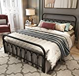 Metal Bed Frame Full Size with Vintage Headboard and Footboard Platform Base Wrought Iron Bed Frame (Full,Black)