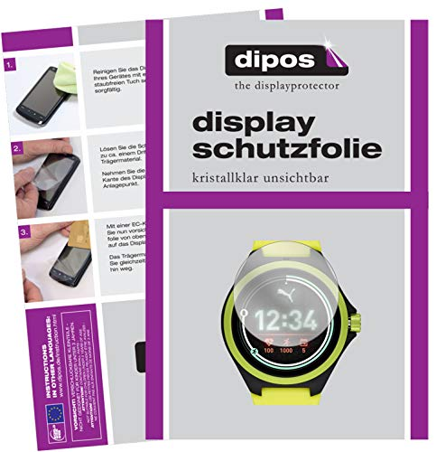 dipos I 2X Schutzfolie klar kompatibel mit Puma Gen 4 Heart Rate Smartwatch Folie Bildschirmschutzfolie