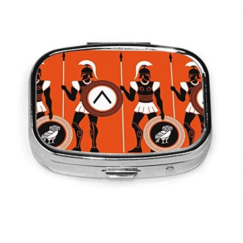 Toga Party,Artistic Historical Warrior Figures in Ancient Greece Military Theme,Orange Black White Custom Personalized Square Pill Box Decorative Box Vitamin Container Pocket Or Wallet