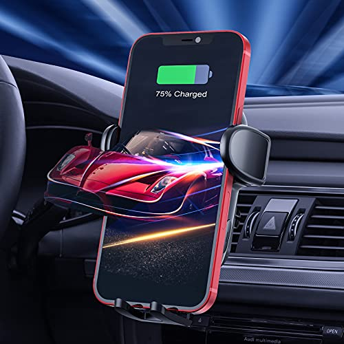 WOFALO 15W Fast Qi Wireless Charger Auto,[Auto-Scan-Spule] Auto Handyhalterung Mit Ladefunktion Induktion Ladestation Auto Kfz Handy Halterung für iPhone 11/12/13/X/XR Pro Max Mini Samsung S21/20 usw
