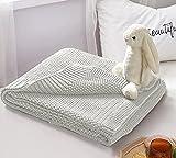 wometo Manta de punto para bebé, 70 x 100 cm, color blanco, manta de punto OekoTex, cálida y suave, con patrón de punto elegante