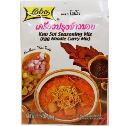 Lobo Kao Soi Seasoning Mix (Egg Noodle Curry Mix) Thai Herbal Food Net Wt 50g (1.76 Oz) X 3 Bags
