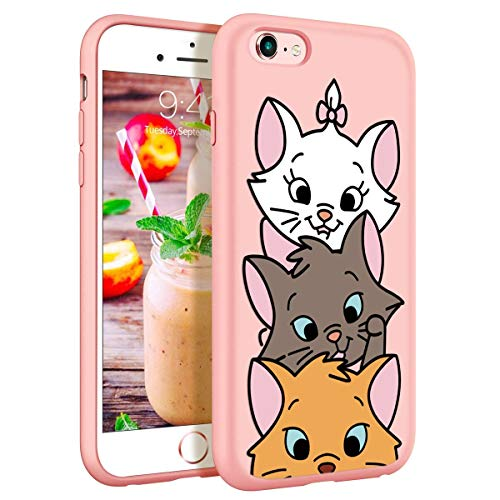 ZhuoFan Funda iPhone 6s Plus / 6 Plus, Cárcasa Silicona Rosa con Dibujos Diseño Suave TPU Antigolpes de Protector Piel Case Cover Bumper Fundas para Movil Apple iPhone 6sPlus / 6Plus, 3 Gato