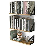 Wallniture Minori Floating Shelves Set of 3, Small Bookshelf Unit for Living Room, Office, and Bedroom, Natural Burned Rustic Wood Wall Decor with Metal Floating Shelf Bracket