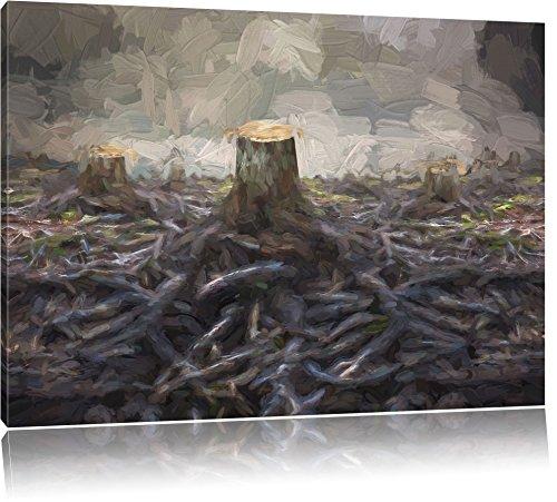van ontruimde bosFoto Canvas | Maat: 100x70 cm | Wanddecoraties | Kunstdruk | Volledig gemonteerd