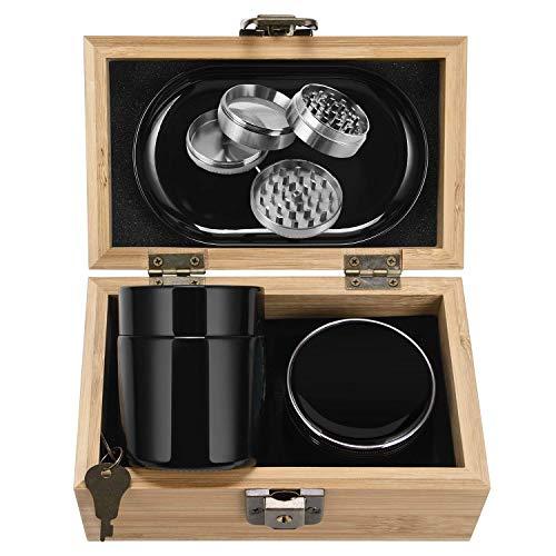 One Sight Stash Box Combo, Locking Wooden Box with Titanium 4 Part Herb Grinder, UV Glass Stash Jar and Rolling Tray, Bamboo Box Storage Organizer Kit