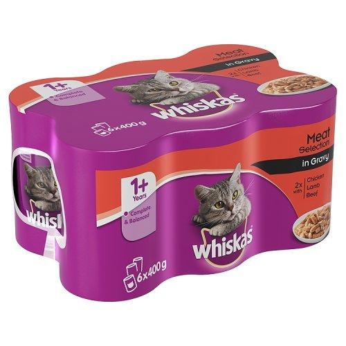 Whiskas 1+ Alimento húmedo para Gatos Adultos Carne selección en Salsa, 6 x 400 g