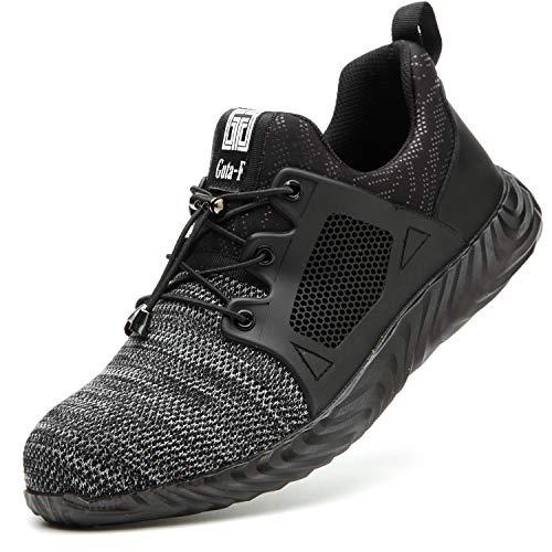 COOU S3 Sicherheitsschuhe Herren Damen Leicht Bequeme Arbeitsschuhe mit Stahlkappe Sneaker (708Gray, 44)