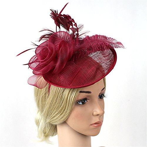 Yiwuhu Eleganter Fascinator-Hut für Damen Navy Feather Haarnadel Blume Fascinator Hochzeit Damen Tag Spiel Royal Ascot Hut Schmuck (Farbe : Rot)