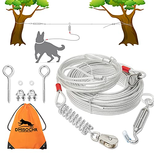 DMISOCHR Dog Tie Out Cable - 100 ft Long Dog Leash with 10ft Runner Cable for Yard Training Running Camping Hiking Outdooor, Heavy Duty Lead Trolley Cable with Buffer Spring for Small Medium Large Dog