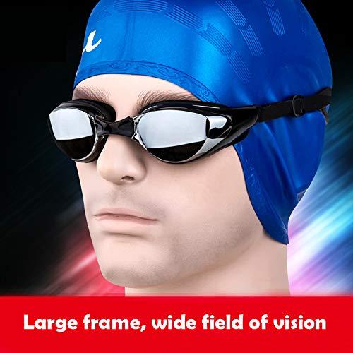 Warmiehomy Kurzsichtige Schwimmbrille (0 bis -800), kurzsichtige UV400-UV-Schutzbrille, mit verstellbarem Gummi-Gurt, Dicker Verstellbarer Spiegel für Erwachsene Männer Frauen Kinder (-6.0,-600)
