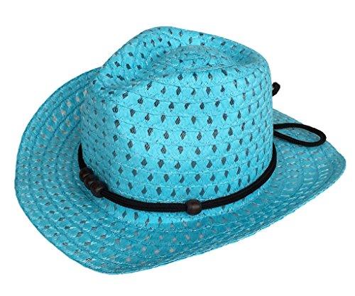 Bigood Panama Enfant Chapeau de Paille Fedora Large Bord Casual Soleil Plage Voyage Eté Bleu