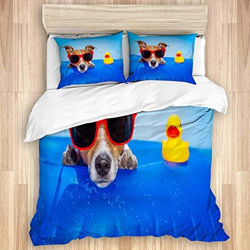 Juego de funda nórdica de 3 piezas, perro Jack Russell en un colchón en el océano, playa, verano, gafas de sol rojas, pato amarillo, juegos de fundas de edredón para dormitorio, colcha con cremallera