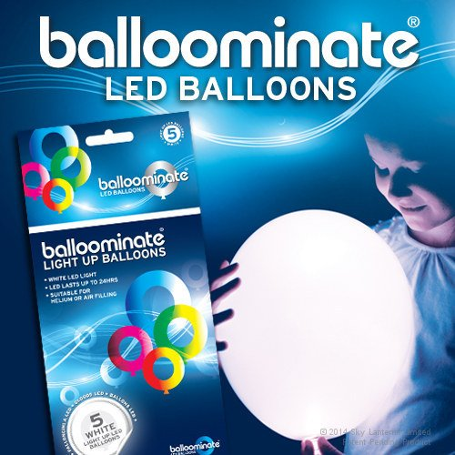 White - 5 pack. White LED Light Up Balloominate Balloons. Great for Parties and Celebrations