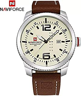 Relógio Masculino com pulseira de couro a prova d'água (3ATM) Naviforce - lindo relógio para ocasiões formais e casuais