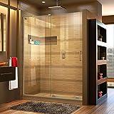 DreamLine Mirage-X 56-60 in. W x 72 in. H Frameless Sliding Shower Door in Brushed Nickel; Left Wall Installation, SHDR-1960723L-04