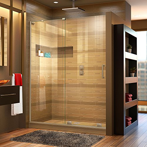 DreamLine Mirage-X 56-60 in. W x 72 in. H Frameless Sliding Shower Door in Brushed Nickel; Left Wall Installation, SHDR-1960723L-04