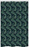 ABAKUHAUS Palme Schmaler Duschvorhang, Exotische Dschungel Laub Muster, Badezimmer Deko Set aus Stoff mit Haken, 120 x 180 cm, Jade-Grün-Marine-Grün