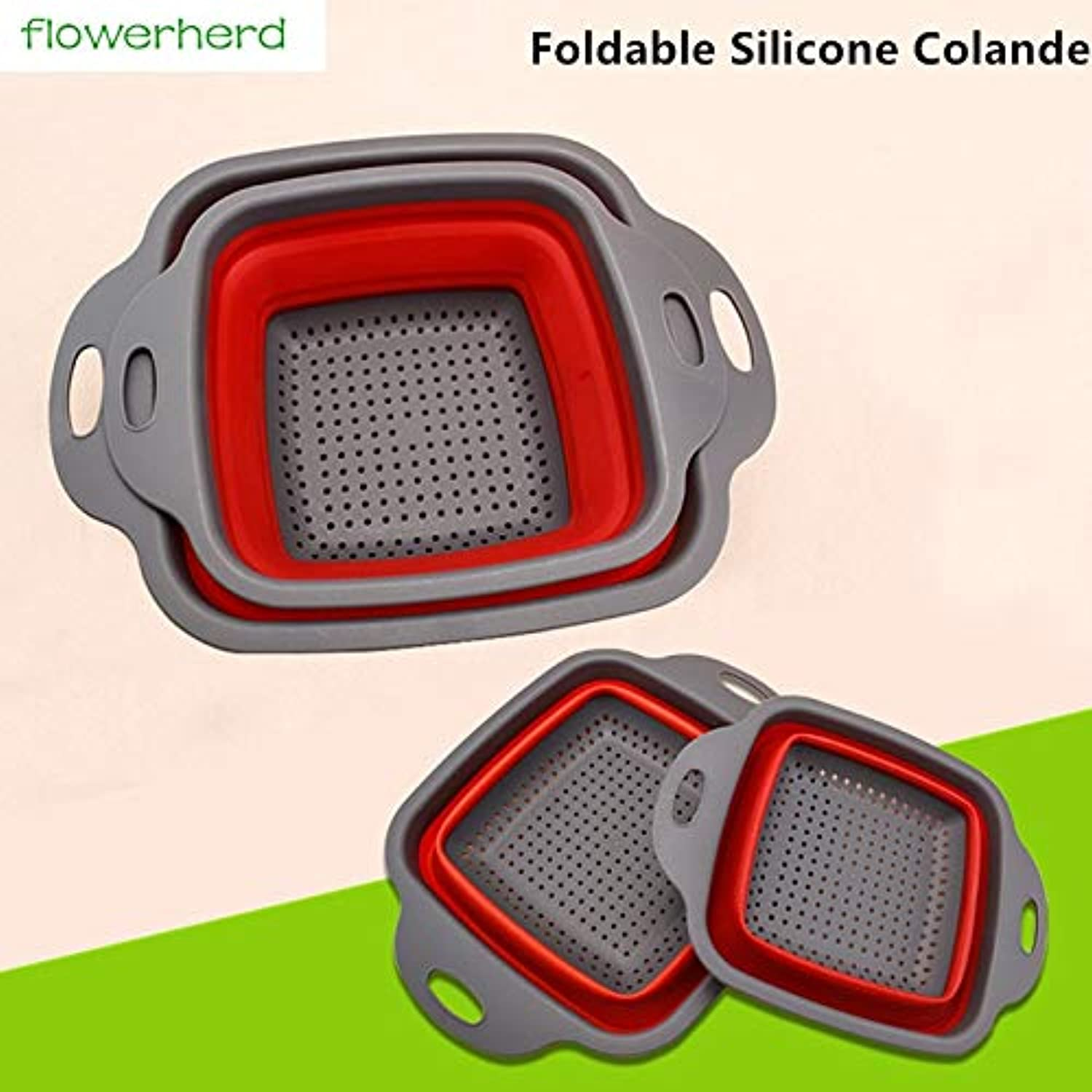 Farmerly 2pcs Set Foldable Fruit Vegetable Washing Basket Strainer Portabl Silicone Colander Collapsible Drainer with Handle Kitchen Tool