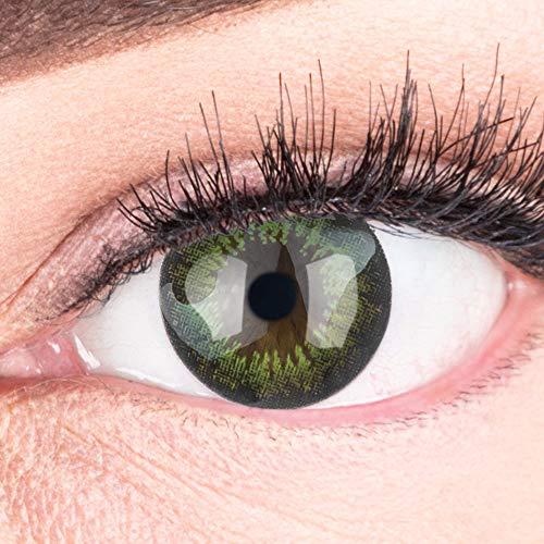 Farbige grüne dunkelgrün Kontaktlinsen 3-Monatslinsen & Color Contact lenses Big Eyes Grün / Party Green 1 Paar (2 Stück) ohne Stärke. Für Fasching und Halloween