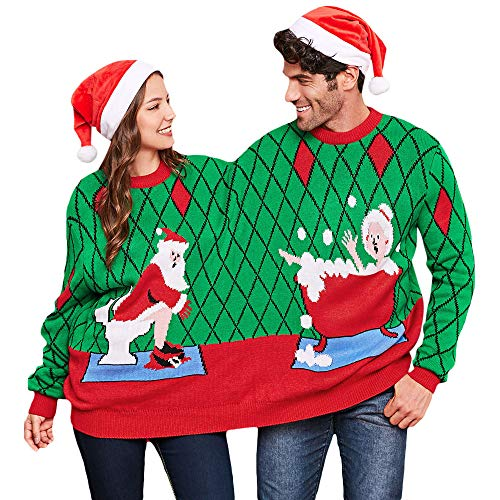 BeautyGal Two Person Knit Ugly Sweater Xmas Couples Pullovers Novelty Christmas Jumper (Colormix 4)