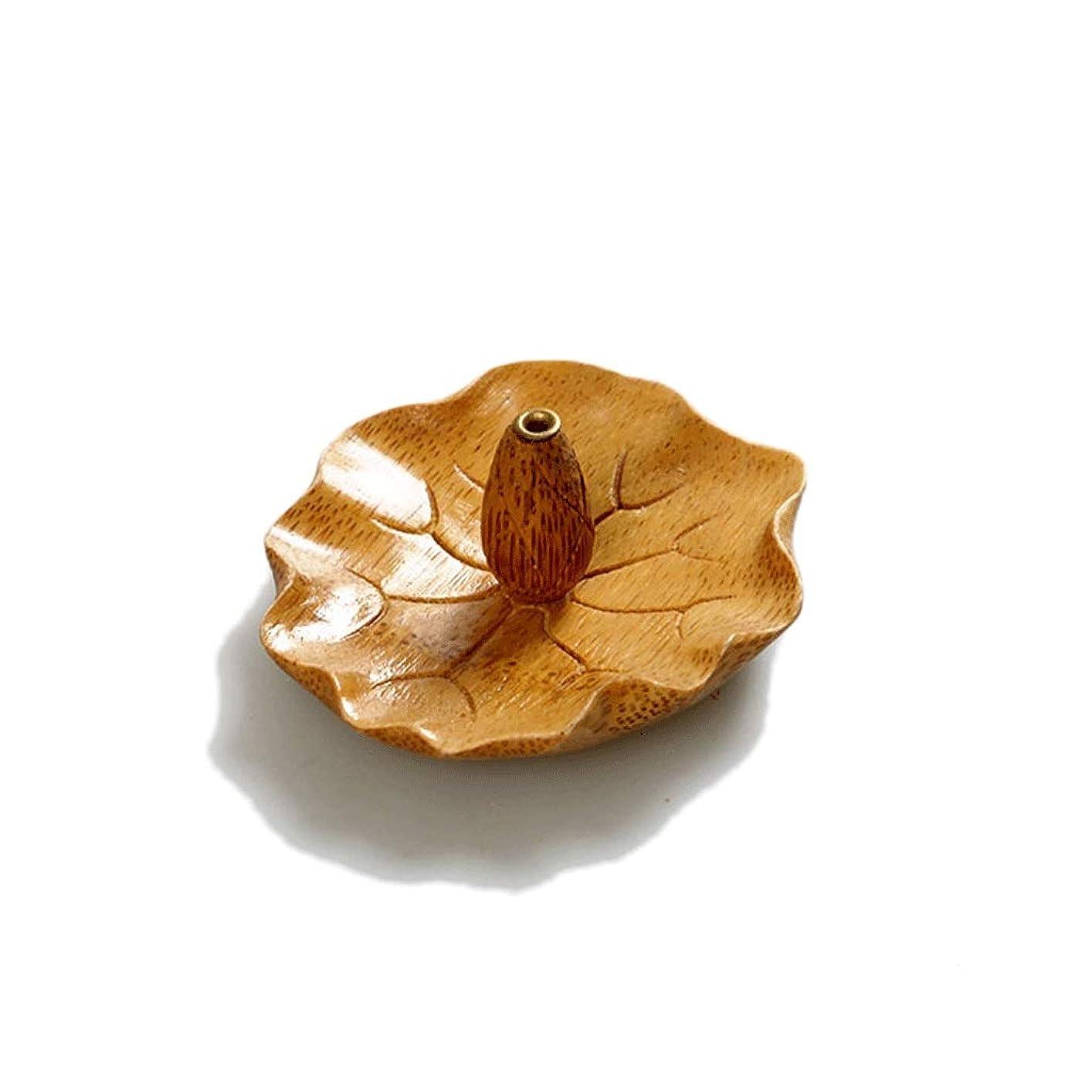 シソーラス練習料理クリエイティブ竹香ホルダー瞑想香バーナー手作りの葉形の家の装飾香スティックコーンバーナーホルダー (Color : C)