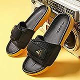 LLRR Women Zapatos de Playa,Zapatillas Deportivas de Verano de Baloncesto de Talla Grande para Hombre, Sandalias de Playa Casuales, Negro y Amarillo_41,Mulas Sandalias Sin Cordones